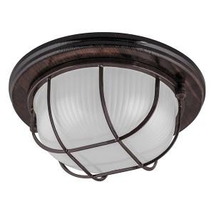 Светильник для бани термостойкий 130° на деревянной основе Орех, IP54 E27 круг решетка НБО 03-60-022