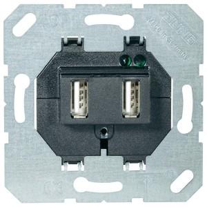 Зарядное устройство для 2-х USB портов тип А макс.3000 мА Jung черный механизм