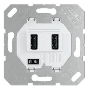 Зарядное устройство для 2-х USB портов тип А макс.3000 мА Jung белый механизм