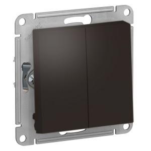 Двухклавишный выключатель 10А SE AtlasDesign, мокко