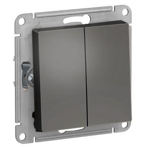 Двухклавишный выключатель 10А SE AtlasDesign, сталь