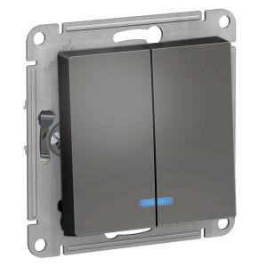 Двухклавишный выключатель с подсветкой 10А SE AtlasDesign, сталь