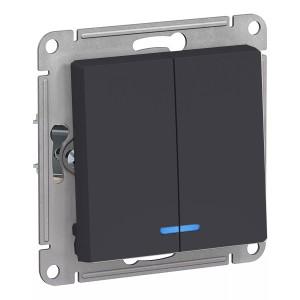 Двухклавишный выключатель с подсветкой 10А SE AtlasDesign, карбон