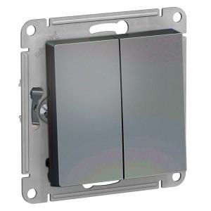 Двухклавишный выключатель 10А SE AtlasDesign, грифель