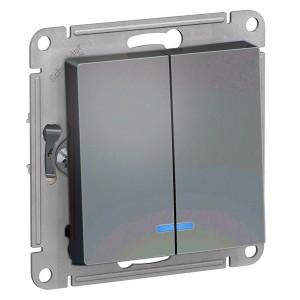 Двухклавишный выключатель с подсветкой 10А SE AtlasDesign, грифель