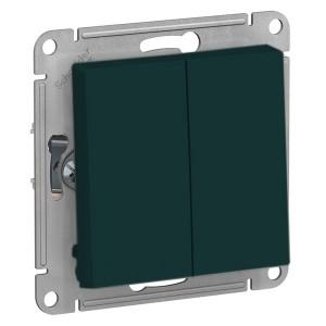 Двухклавишный выключатель 10А SE AtlasDesign, изумруд