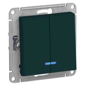Двухклавишный выключатель с подсветкой 10А SE AtlasDesign, изумруд