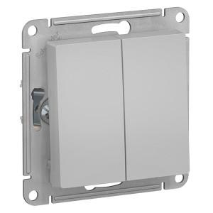 Двухклавишный выключатель 10А SE AtlasDesign, алюминий