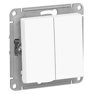 Двухклавишный выключатель 10А SE AtlasDesign, белый