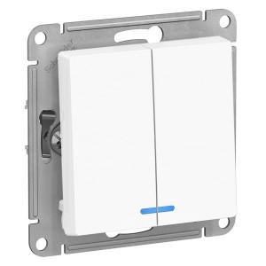 Двухклавишный выключатель с подсветкой 10А SE AtlasDesign, белый