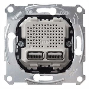 Зарядное устройство USB с 2-мя разъемами 2,1А (2x1,05А) Merten механизм