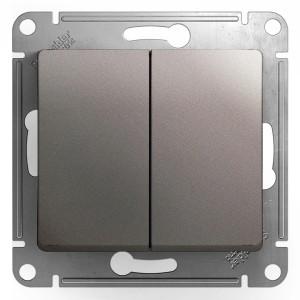 Двухклавишный выключатель 10AX механизм SE Glossa, платина
