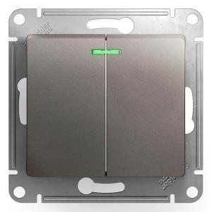 Двухклавишный выключатель с подсветкой 10AX механизм SE Glossa, платина