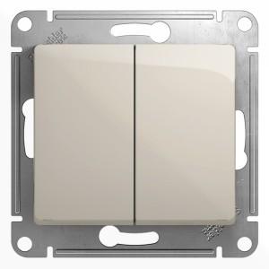 Двухклавишный выключатель 10A механизм SE Glossa, молочный