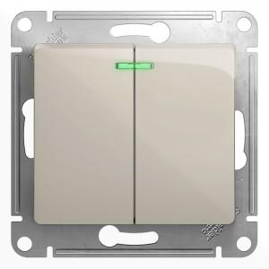 Двухклавишный выключатель с подсветкой 10A механизм SE Glossa, молочный