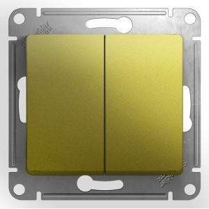Двухклавишный выключатель 10AX  механизм SE Glossa, фисташковый