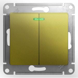 Двухклавишный выключатель с подсветкой 10A  механизм SE Glossa, фисташковый