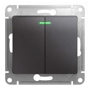 Двухклавишный выключатель с подсветкой 10A механизм SE Glossa, графит