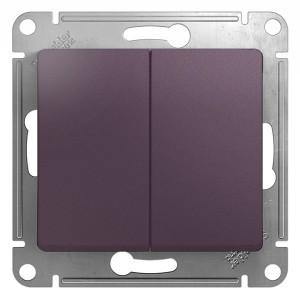 2-клавишный выключатель 10A механизм SE Glossa, сиреневый туман