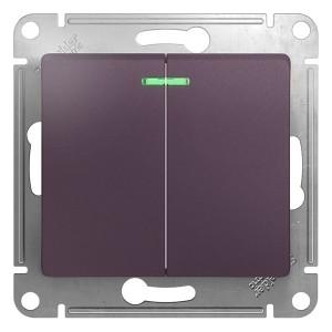 2-клавишный выключатель с подсветкой 10A механизм SE Glossa, сиреневый туман