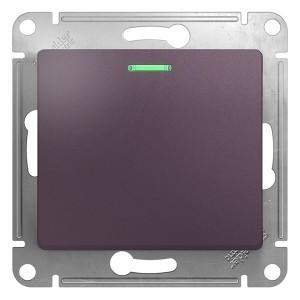 1-клавишный переключатель с подсветкой 10A механизм SE Glossa, сиреневый туман