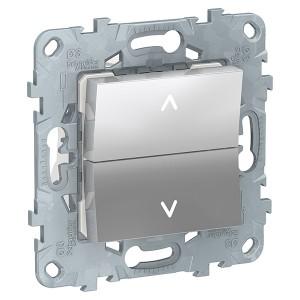 Выключатель двухклавишный для жалюзи без фиксации SE Unica NEW, алюминий