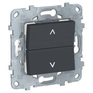 Выключатель двухклавишный для жалюзи без фиксации SE Unica NEW, антрацит