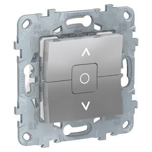 Выключатель двухклавишный для жалюзи с фиксацией SE Unica NEW, алюминий