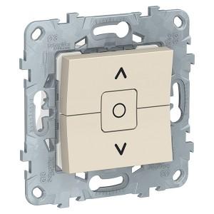 Выключатель двухклавишный для жалюзи с фиксацией SE Unica NEW, бежевый