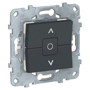 Выключатель двухклавишный для жалюзи с фиксацией SE Unica NEW, антрацит