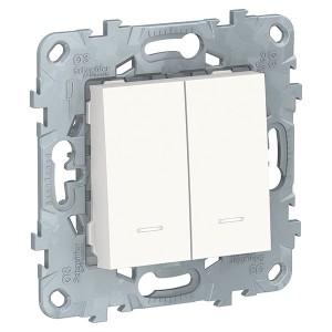 Выключатель двухклавишный с подсветкой SE Unica NEW, белый