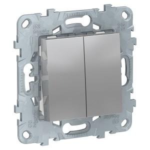 Выключатель двухклавишный SE Unica NEW, алюминий