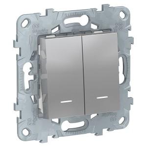 Выключатель двухклавишный с подсветкой SE Unica NEW, алюминий