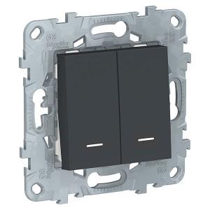 Выключатель двухклавишный с подсветкой SE Unica NEW, антрацит