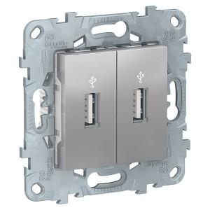 USB-розетка двухместная SE Unica NEW, алюминий