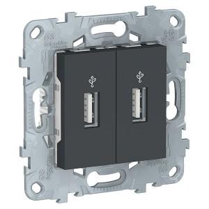 USB-розетка двухместная SE Unica NEW, антрацит