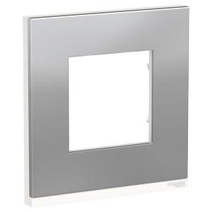 Рамка Unica Pure 1 пост горизонтальная, алюминий матовый/белый