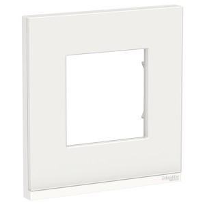 Рамка Unica Pure 1 пост горизонтальная, белое стекло/белый