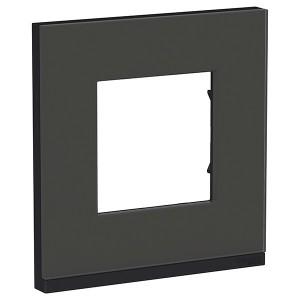 Рамка Unica Pure 1 пост горизонтальная, черное стекло/антрацит