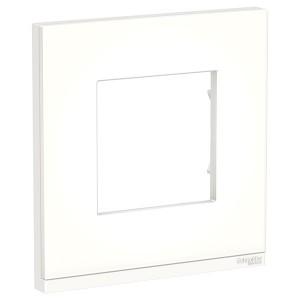 Рамка Unica Pure 1 пост горизонтальная, матовое стекло/белый
