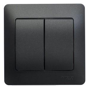 Двухклавишный выключатель 10А в сборе SE Glossa, антрацит