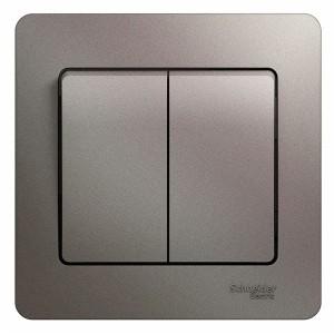 Двухклавишный выключатель 10A в сборе SE Glossa, платина