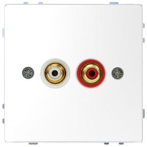 Аудиорозетка с накладкой и двумя гнездами тюльпан Merten D-Life, белый лотос