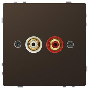 Аудиорозетка с накладкой и двумя гнездами тюльпан Merten D-Life, мокко