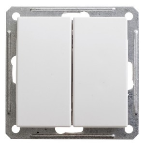 Двухклавишный выключатель 16А механизм SE W59, белый