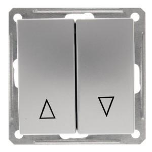 Двухклавишный выключатель с механич блокировкой для жалюзи механизм SE W59, матовый хром
