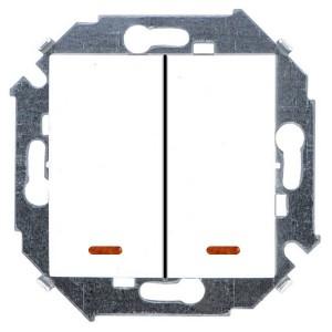 Выключатель двухклавишный с подсветкой 16А 250В винтовой зажим Simon 15, белый