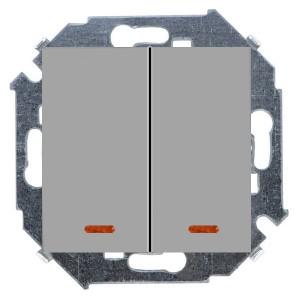 Выключатель двухклавишный с подсветкой 16А 250В винтовой зажим Simon 15, алюминий