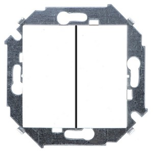 Выключатель двухклавишный 16А 250В винтовой зажим Simon 15, белый
