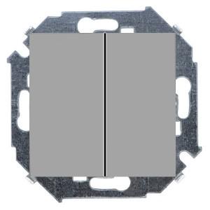 Выключатель двухклавишный 16А 250В винтовой зажим Simon 15, алюминий